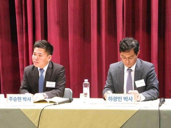 열린 대화에서 패널로 나선 주승현 박사(왼쪽), 오른쪽이 하광민 박사.