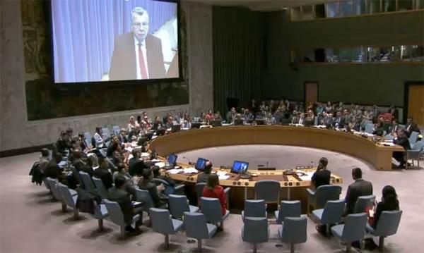 유엔 안전보장이사회 회의 모습