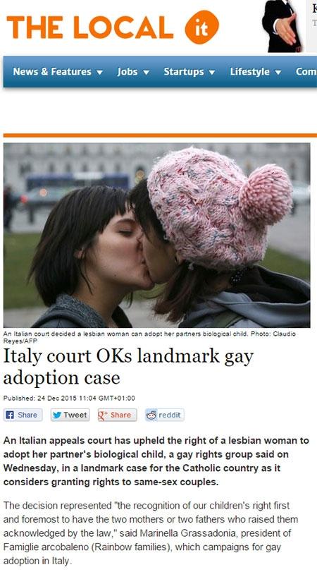 이탈리어 동성애 레즈비언 커플 입양 허용
