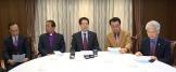 찬송가공회 문제 합의를 위해 회의를 갖고 기자회견에 참석한 교단 대표들.