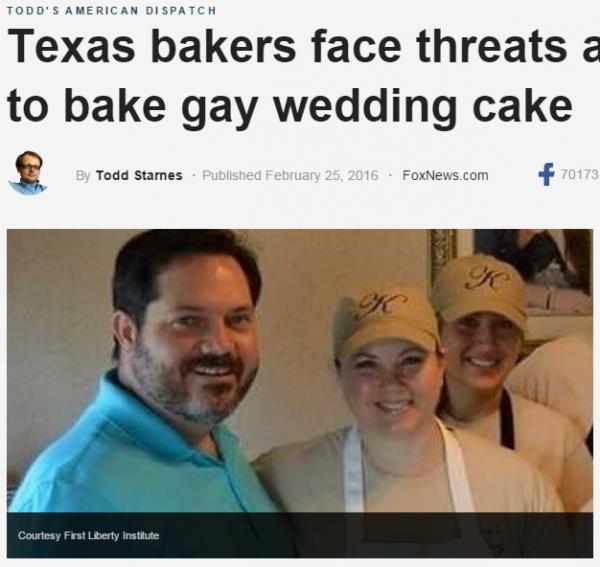 해당 뉴스를 보도한 폭스뉴스 보도화면과 켄즈 베이커리 샵의 주인인 드롬 부부