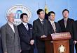 북한인권법이 통과된 직후 국회정론관에서 기자회견에 임하고 있는 올인통 등 북한인권단체 관계자들.