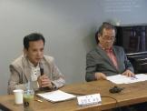한국기독교언론포럼이 정기포럼을 개최한 가운데, 성공회대 김찬호 교수(왼쪽)가 발언하고 있다. 오른쪽은 사회자 이의용 교수.