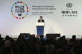 (사진1)제66차 유엔 NGO 컨퍼런스 조직위원장인 장순흥 한동대 총장은 30일 오전 경주화백컨밴션센터에서 열린 개회식에 참석해 환영사를 전했다