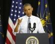 지난 1일 인디애나의 한 타운홀 미팅에서 연설하는 오바마 대통령>