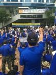 국가인권위원회 앞에서 열린 '바른 인권 알리기 기자회견'에서 참석자들이 구호를 외치고 있다.