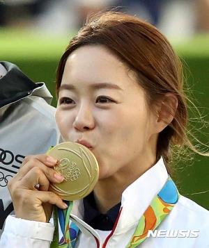 [리우2016]금메달 키스 하는 장혜진