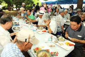 제1회 대한민국 효나눔 사랑의 삼계탕대축제에서 말복에 어르신들이 삼계탕으로 몸보신을 하고 있다.