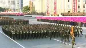 노동당 창건 70주년 기념 열병식 핵배낭 부대 모습