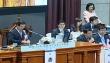 제101회 예장합동 총회가 진행된 가운데 회의 석상 임원들의 모습.