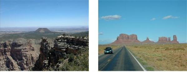 그랜드캐년 부근에 있는 Cedar Mountain (왼쪽)과 Monument Valley (오른쪽). 그랜드캐년을 비롯한 콜로라도 고원 일대에 두껍게 쌓여져 있었던 지층들이 평탄하게 침식당하고, 일부 지층만 남겨진 모습을 볼 수 있다. 풍화, 침식 당한 물질들이 그 주변에서 발견되지 않는다는 것이 공통적인 특징이다.   (사진: Ⓒ박창성)