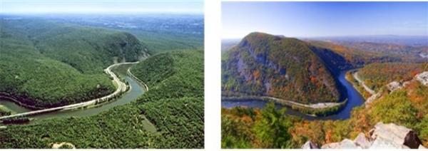 애팔래치아 산맥의 Delaware Water Gap. 사진에 보이는 강물이 높은 산을 가로질러 사행천의 형태로 구불구불 흐르고 있는데, 그랜드캐년에서 카이밥 고원을 가로질러 흘러가는 콜로라도 강과 매우 유사하다. 이와 같은 Water Gap은 산 전체를 덮는 대홍수 물이 지나갈 때 형성될 수 있으며, 전세계에서 천여 개나 발견되었다. 이것은 과거에 전지구적인 홍수가 있었음을 보여주는 증거이다.