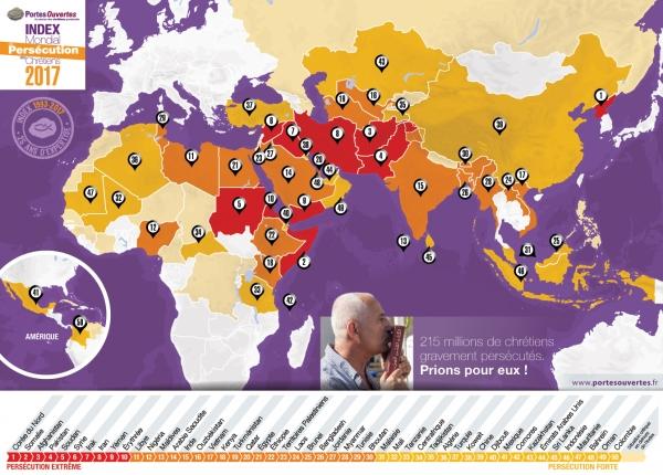 오픈도어 선교회의 기독교 박해 순위(Open Doors World Watch List, WWL) 지도