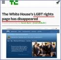 "techcrunch.com의 보도화면 캡춰. ""백악관 홈페이지에서 '동성애자 인권'이  사라졌다""는 보도를 냈다."
