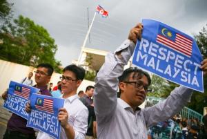 말레이시아 북한 비판 피켓 / 로이터 연합