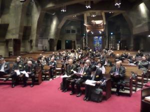 경동교회에서 열린 한복협 조찬모임에 참석한 회원들의 모습.