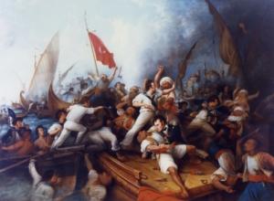 미군이 트리폴리 해적들과 싸우는 모습을 그린 그림