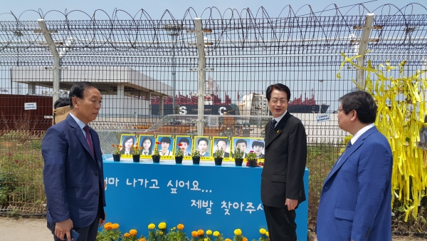 한장총 채영남 대표회장이 13일 오전, 전남 목포신항 세월호 거치장소를 방문했다.