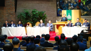 예장통합 제102회 총회 부총회장 후보 소견발표회(서울 및 수도권 지역)에서 기호 1번 정도출 목사가 먼저 소견 발표를 하고 있다.
