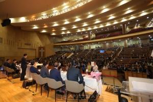 예장합동 제102회 정기총회가 열리고 있는 익산 기쁨의교회당 내부의 모습.