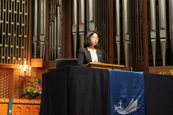 한국가족보건협회 김지연 대표가 강연을 전하고 있다.