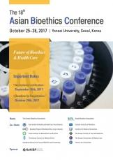 한국생명윤리학회(회장 구영모 교수)와 아시아생명윤리학회(Asian Bioethics Association)는 오는 10월 25~27일 서울 서대문구 연세대 애비슨의생명연구센터 2층 유일한홀에서 '헬스케어의미래, 생명윤리학의미래'(Future of Health Care, Future of Bioethics)라는 주제로 '제18회 아시아생명윤리학회학술대회'를 개최한다.