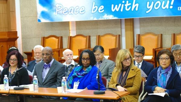 미국장로교회(PCUSA) 평화순례단 방한해 6일 기독교회관에서 기자회견을 가졌다.