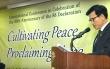 NCCK 화통위원장 나핵집 목사. '민족의 통일과 평화에 대한 한국기독교회 선언' 30주년 기념 국제협의회에서.