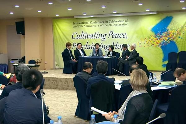 '민족의 통일과 평화에 대한 한국기독교회 선언' 30주년 기념 국제협의회 중간중간 대담도 진행됐다.