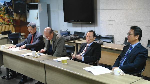 왼쪽부터 예장고신 이용호 목사, 기침 김용도 목사, 기성 백장흠 목사, 기감 정지강 목사.