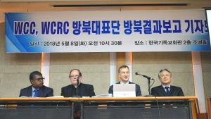 왼쪽부터 WCRC 평화담당 필립 피콕 국장, WCRC 크리스 퍼거슨 총무, WCC 피터 프루브 국장, NCCK 총무 이홍정 목사.