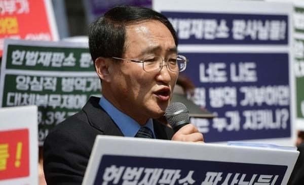바른군인권연구소 김영길 대표가 발언하고 있다.