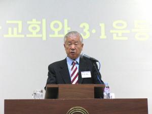 """창천교회 박춘화 감독. 그는 한국기독교학회 개회예배에서 """"한국교회와 3.1운동""""에 대해 설교했다."""