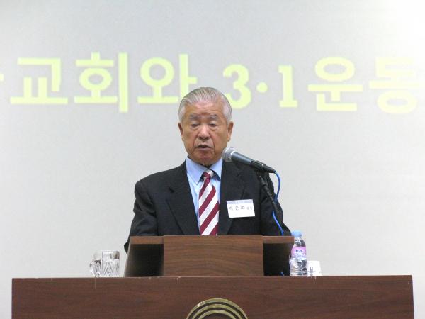 창천교회 박춘화 감독. 그는 한국기독교학회 개회예배에서