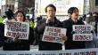 10일 대한성공회 서울대성당 앞에서 열린 '자유인권실천국민행동'의 기자회견 모습. 주요셉 목사가 발언하고 있다.