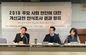 기사연이 20일 저녁 이제홀에서 '2018 주요 사회 현안에 대한 개신교인 인식조사 결과'를 발표하는 자리를 마련했다. 원장 김영주 목사(맨 왼쪽)가 발언하고 있다.
