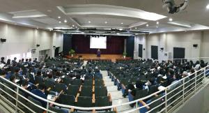 명지전문대학이 2019년 1학기 개강예배를 드리고 있다.