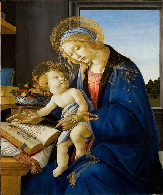 산드로 보티첼리, 성모와 아기예수, 1480. 폴디페촐리 박물관, 밀라노.이탈리아 Sandro Botticelli - The Virgin and Child (The Madonna of the Book), 1480. Museo Poldi Pezzoli, Milan,  Italy  From Wikimedia Commons