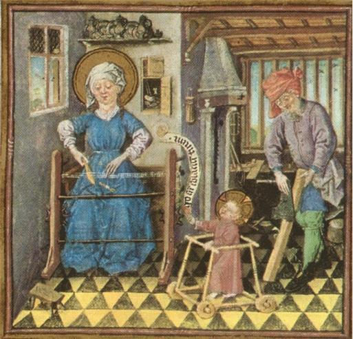 클리브 장인, 아기 보행기 속의 예수와 성가족(부분), 카트린 클리브 성무일과서, 1440년경.  위트레흐트, 네덜란드, 모건도서관, 뉴욕 the Clèves Master, The Holy Family at Work with the baby Jesus in a walker. Book of Hours of Catherine of Clèves, c.1440.Utrecht, Netherlands, Morgan Library , New York
