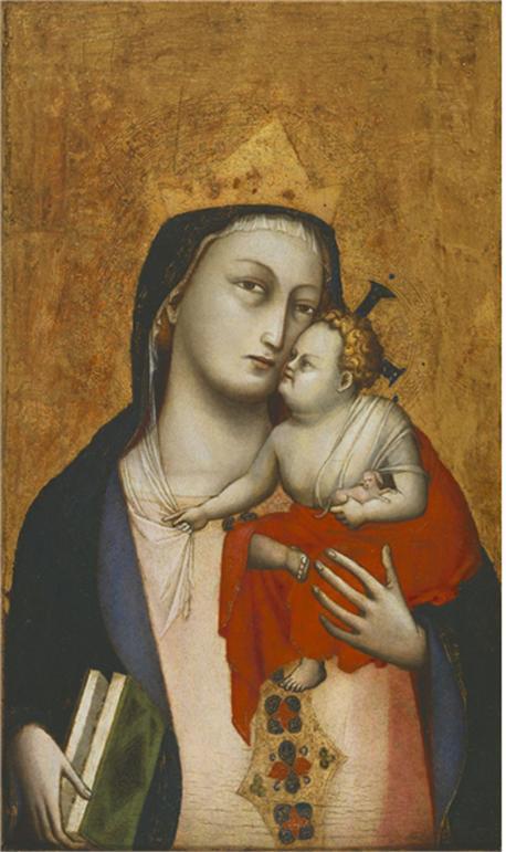 달마시오(추정), <성모 마리아와 강아지를 든 아기 예수>, 1330-35. 46.5 x 30.5 cm, 필라델피아 미술관 Attributed to Dalmasio, Virgin and Child with a Dog,  1330-35.  46.5 x 30.5 cm Philadelphia Museum of Art
