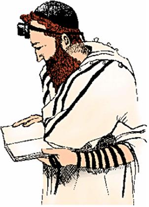 이마와 왼팔에 경문띠로 묶은 테필린을 착용한 유대인