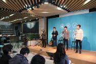 광림교회의 제1회 카포스 포럼에서 '노래하는 동네청년'이 공연하고 있다.