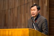 구세군 위기상담센터 개소식에서 한국생명의전화 하상훈 원장이 격려사를 하고 있다.