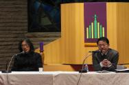 연동교회에서 열린 생명목회실천협의회 특별 심포지엄에서 하영식 분쟁전문기자(왼쪽)와 김창운 목사(송탄동성교회)가 발표하고 있다.