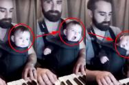 자장가 연주하는 아빠와 아기