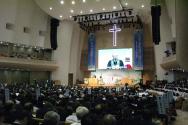예장통합 제101회 정기총회가 열리고 있는 안산제일교회 본당의 모습.