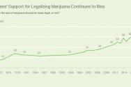 여론조사 기관인 갤럽에 따르면 2017년 기준 대마초의 오락용 사용 합법화를 지지하는 미국인들은 64%로 역대 최고다. 갤럽이 1969년 처음 이 질문을 했을 때 미국인들의 12%만 대마초의 오락용 사용 합법화를 찬성했다. 이 입장은 1980년대, 1990년대 변화가 없이 유지되다가 2001년부터 급격히 증가하기 시작했다.