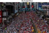 뉴욕타임스에 실린 홍콩 100만 시위 사진