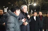 한기총 대표회장 전광훈 목사가 구속을 피한 후 청와대 앞 '광야교회'에서 기자회견을 열고 경과를 설명하고 있다.