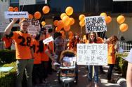 美 대학생, LA 시내서 탈북자 북송 반대 시위